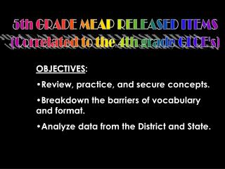 5th GRADE MEAP RELEASED ITEMS (Correlated to the 4th grade GLCE's)