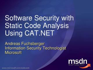 Software Security with Static Code Analysis Using CAT.NET