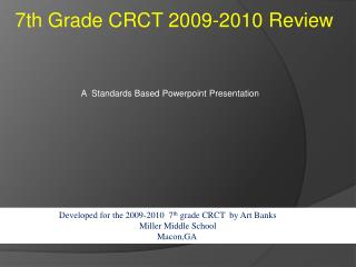 7th Grade CRCT 2009-2010 Review