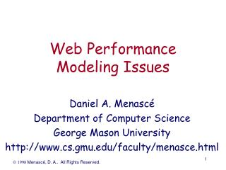 Web Performance Modeling Issues