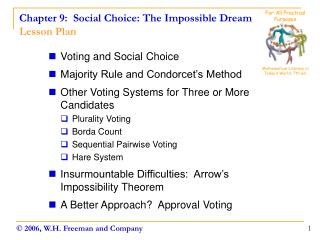 Chapter 9:  Social Choice: The Impossible Dream Lesson Plan