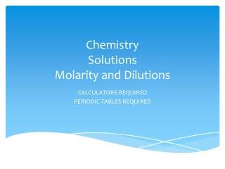 Chemistry Solutions Molarity and Dilutions