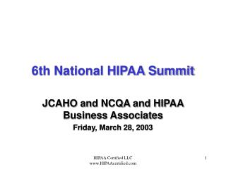 6th National HIPAA Summit