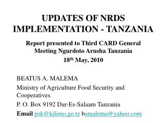 UPDATES OF NRDS IMPLEMENTATION - TANZANIA