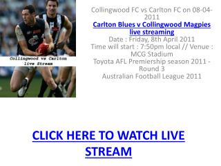 Watch Collingwood vs Carlton AFL live streaming