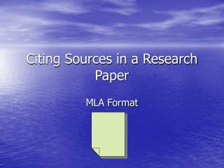 Citing Sources in a Research Paper