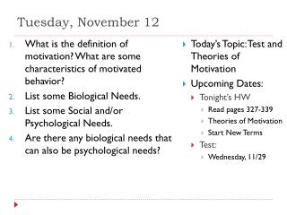 Tuesday, November 12
