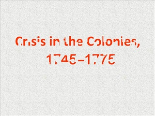 Crisis in the Colonies, 1745 1775