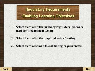 Regulatory Requirements Enabling Learning Objectives