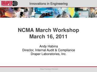 NCMA March Workshop March 16, 2011