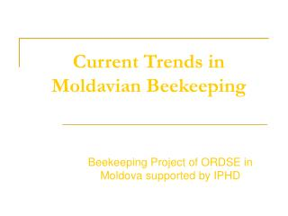 Current Trends in Moldavian Beekeeping