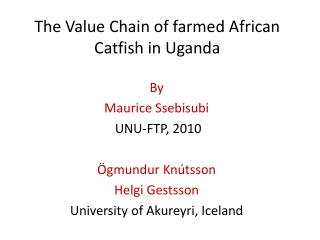 The Value Chain of farmed African Catfish in Uganda