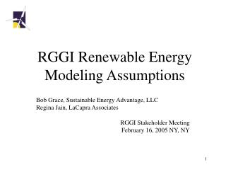 RGGI Renewable Energy Modeling Assumptions