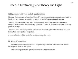 Chap. 3 Electromagnetic Theory and Light