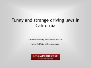 Funny Driving Laws in California