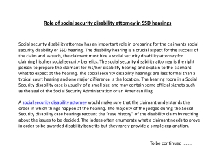 Role of social security disability attorney in SSD hearings