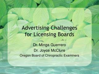 Advertising Challenges  for Licensing Boards