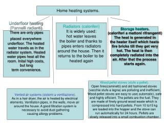 Home heating systems.