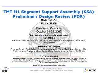 TMT M1 Segment Support Assembly (SSA) Preliminary Design Review (PDR) Volume-5:   FLEXURES