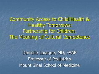 Community Access to Child Health & Healthy Tomorrows Partnership for Children: The Meaning of Cultural Competence