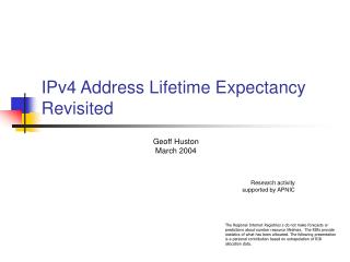 IPv4 Address Lifetime Expectancy Revisited