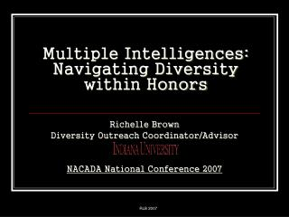 Multiple Intelligences: Navigating Diversity within Honors