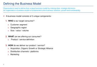 Defining the Business Model