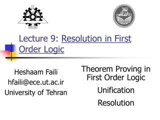 Lecture 9:  Resolution in  First Order Logic