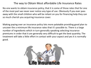 The way to Obtain Most affordable Life Insurance