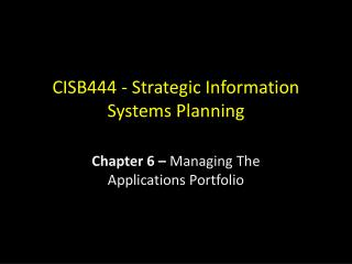 CISB444 - Strategic Information Systems Planning