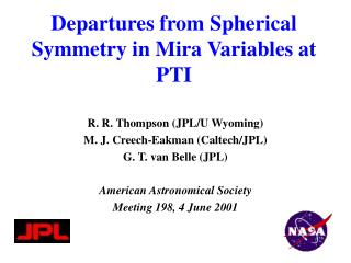 Departures from Spherical Symmetry in Mira Variables at PTI