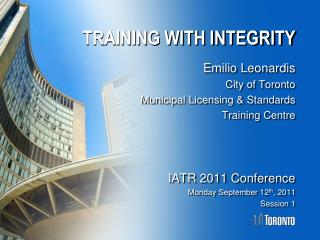 TRAINING WITH INTEGRITY