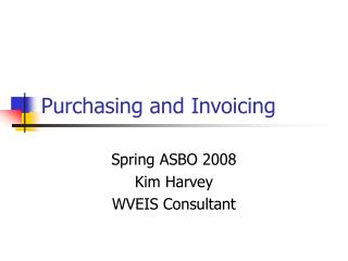 Purchasing and Invoicing