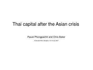 Thai capital after the Asian crisis