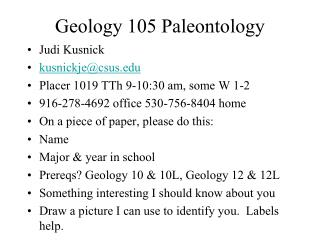 Geology 105 Paleontology