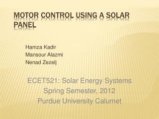 Motor Control Using a Solar Panel