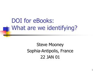 DOI for eBooks:  What are we identifying?