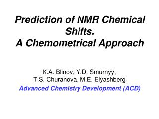 Prediction of NMR Chemical Shifts.  A Chemometrical Approach