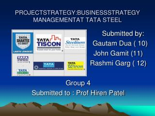 PROJECTSTRATEGY:BUSINESSSTRATEGY MANAGEMENTAT TATA STEEL