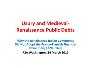 Usury and Medieval-Renaissance Public Debts