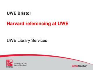 UWE Bristol Harvard referencing at UWE