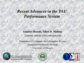 Recent Advances in the TAU Performance System