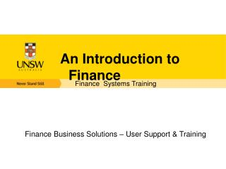 An Introduction to Finance