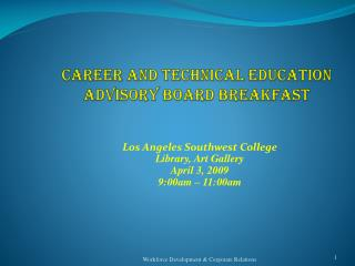 Career and Technical Education ADVISORY BOARD BREAKFAST