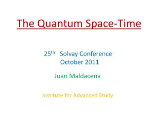 The Quantum Space-Time