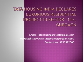 TATA Housing India Declares Luxurious Residential Project i