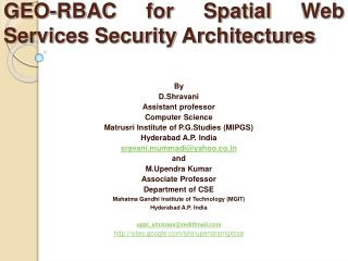 GEO-RBAC for Spatial Web Services Security Architectures