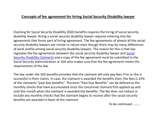 Concepts of fee agreement for hiring Social Security Disabil