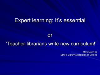 Expert learning: It's essential or