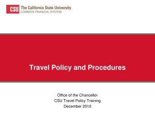 Travel Policy and Procedures